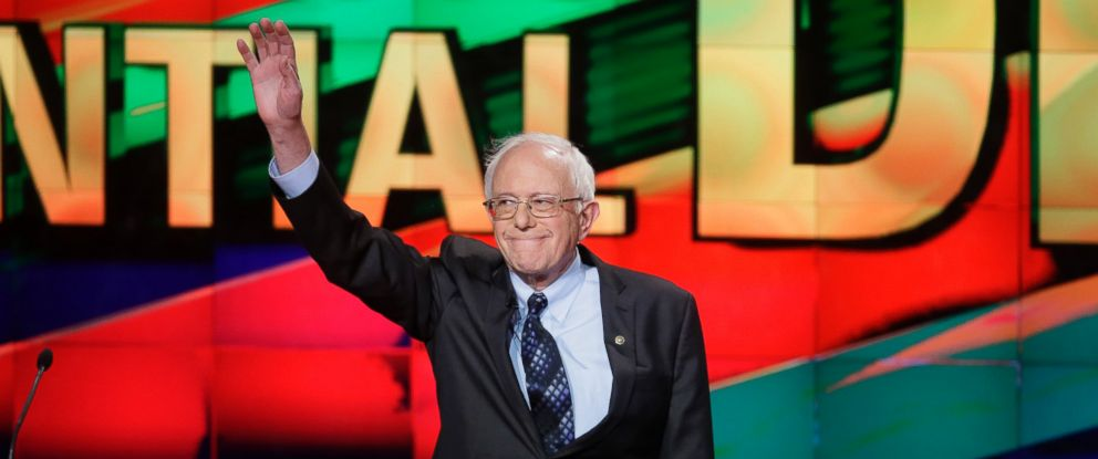PHOTO: Democratic presidential candidate, Sen. Bernie Sanders, arrives on stage during a Democratic presidential primary debate at the University of Michigan-Flint, March 6, 2016, in Flint, Mich.