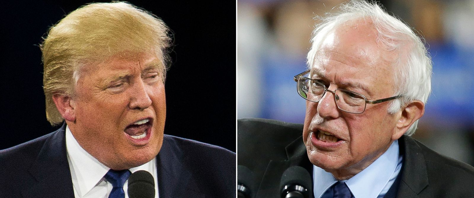 PHOTO: Pictured (L-R) are Donald Trump in Washington, March 21, 2016 and Bernie Sanders in Seattle, March 25, 2016.