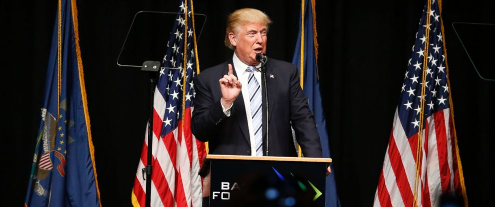PHOTO: Republican presidential candidate Donald Trump speaks at the Williston Basin Petroleum Conference, May 26, 2016, in Bismarck, N.D.