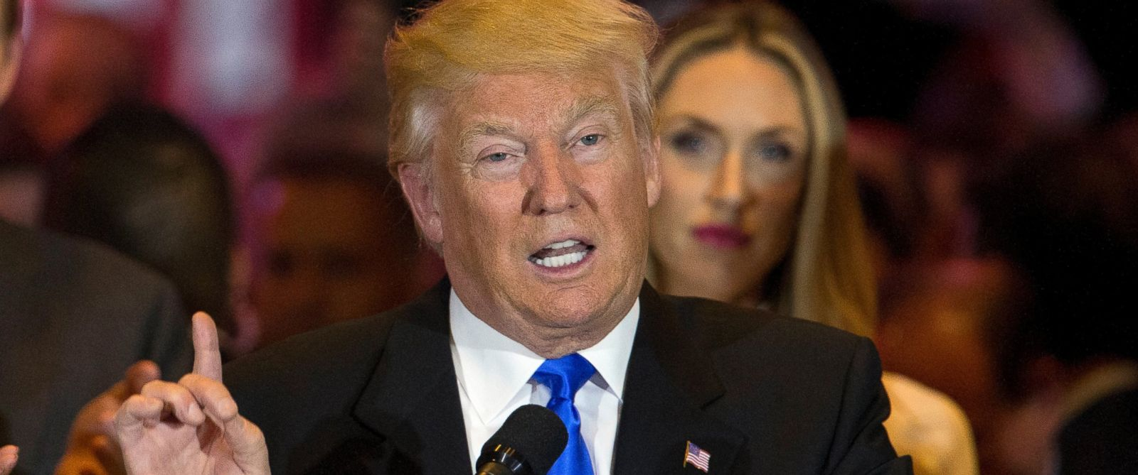 PHOTO:Republican presidential candidate Donald Trump speaks during a primary night news conference, May 3, 2016, in New York.