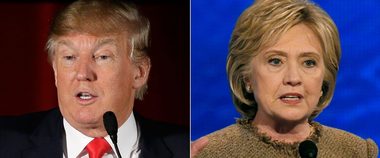 PHOTO: Pictured (L-R) are Republican presidential candidate Donald Trump in in Cedar Rapids, Iowa, Dec. 19, 2015 and Democratic presidential candidate Hillary Clinton in Manchester, N.H., Dec. 19, 2015.