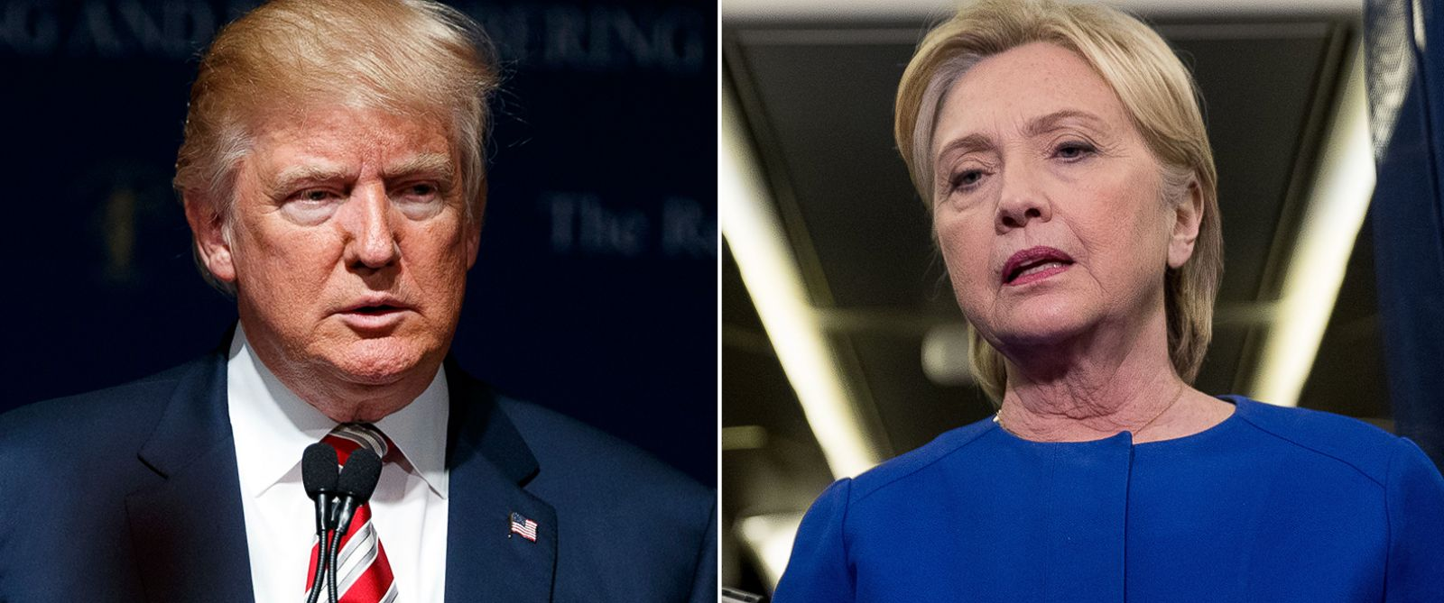 PHOTO: (L-R) Pictured on Sept. 17, 2016 are Republican presidential candidate Donald Trump in Houston and Democratic presidential candidate Hillary Clinton in White Plains, New York.