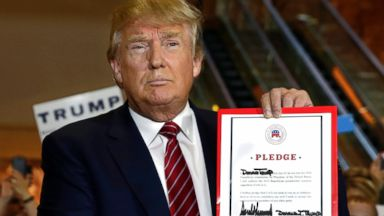PHOTO: Republican presidential candidate Donald Trump holds his pledge during a news conference, at Trump Tower in New York, Sept. 3, 2015.