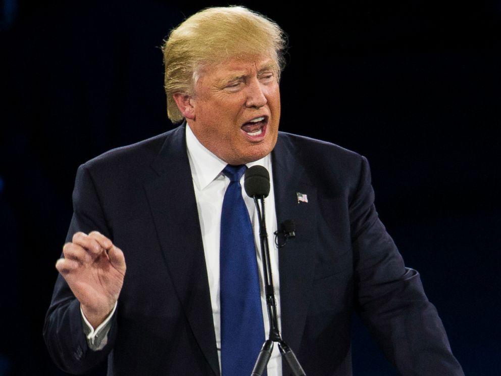 PHOTO: Republican presidential candidate Donald Trump speaks in Washington, March 21, 2016.