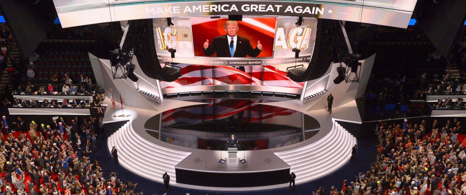 PHOTO: Republican Presidential Candidate Donald Trump steps to the podium to introduce his wife Melania during the opening day of the Republican National Convention in Cleveland, July 18, 2016.