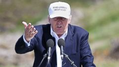 PHOTO: The presumptive Republican presidential nominee Donald Trump makes a speech at his revamped Trump Turnberry golf course in Turnberry Scotland, June 24, 2016.
