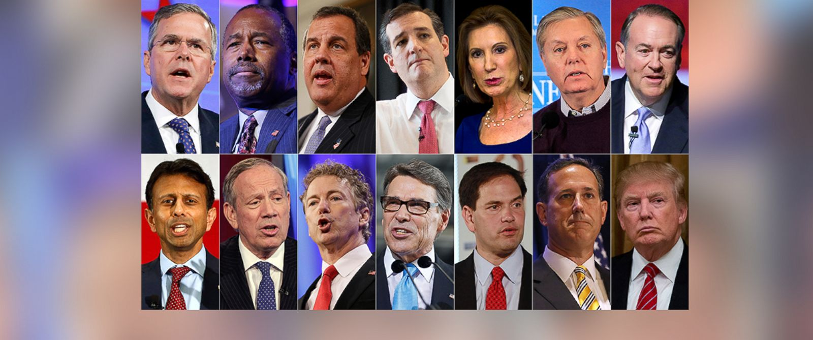 PHOTO: This combo made from file photos shows the 2016 Republican presidential candidates who have officially declared their candidacy as of July 12, 2015.