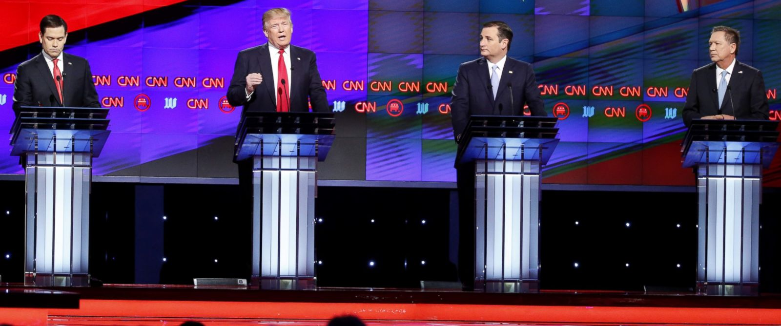PHOTO: Republican presidential candidates, Sen. Marco Rubio, Donald Trump, Sen. Ted Cruz and Ohio Gov. John Kasich at the Republican presidential debate at the University of Miami, March 10, 2016, in Coral Gables, Fla.
