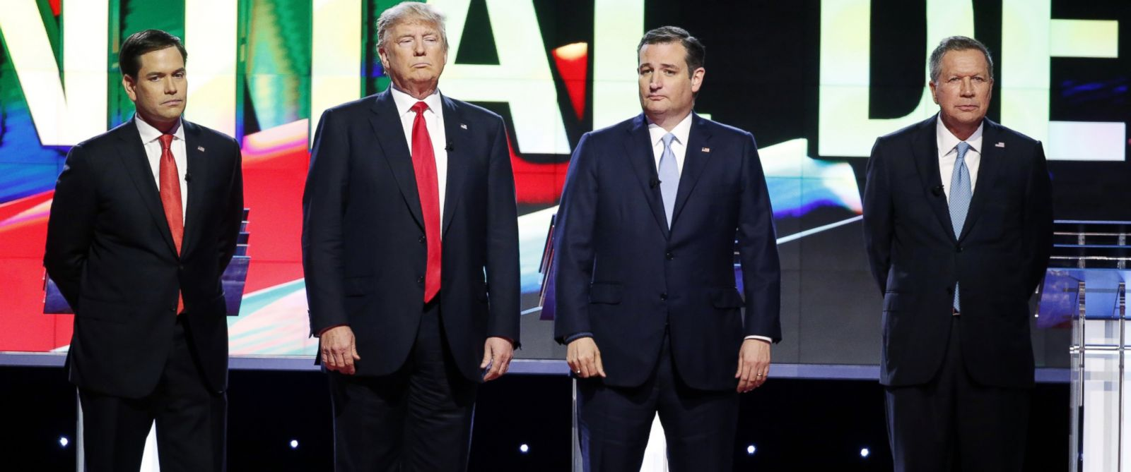 PHOTO: Republican presidential candidates, Sen. Marco Rubio, Donald Trump, Sen. Ted Cruz and Ohio Gov. John Kasich stand together before the start of the Republican presidential debate at the University of Miami, March 10, 2016, in Coral Gables, Fla.