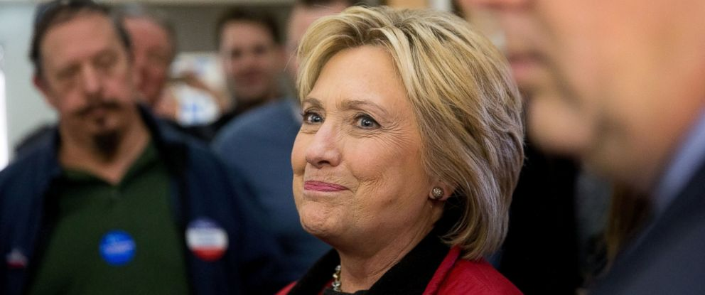 PHOTO: Democratic presidential candidate Hillary Clinton greets workers at her campaign office in Des Moines, Iowa, Feb. 1, 2016.