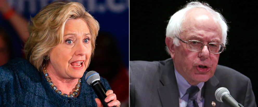 PHOTO: (L-R) Democratic presidential candidates Hillary Clinton in Iowa, Jan. 5, 2016 and Sen. Bernie Sanders in New York, Jan. 5, 2016.
