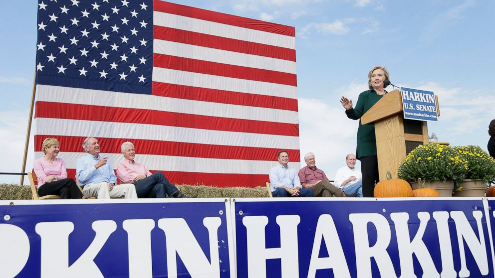 PHOTO: Former Secretary of State Hillary Rodham Clinton speaks during U.S. Sen. Tom Harkins annual fundraising Steak Fry, Sept. 14, 2014, in Indianola, Iowa.