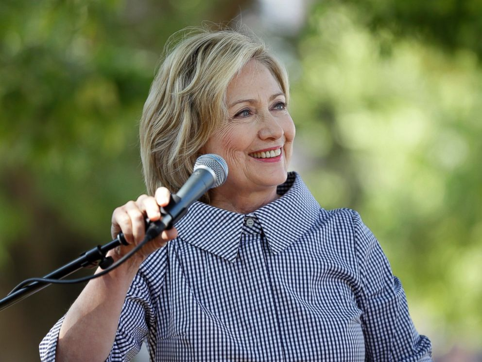 PHOTO: Democratic presidential candidate Hillary Rodham Clinton speaks at a news conference during a visit to the Iowa State Fair, Aug. 15, 2015, in Des Moines, Iowa.