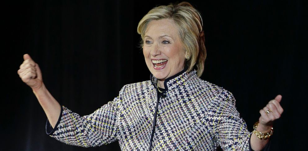 PHOTO: Hillary Rodham Clinton reacts to applause from the crowd before speaking during the sixth annual Women in the World Summit, Thursday, April 23, 2015, in New York.