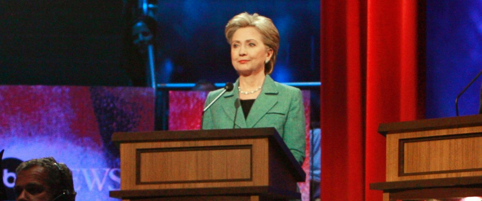PHOTO: Hillary Clinton is pictured before the start of the Democratic Party debate at the National Constitution Center in Philadelphia on April 16, 2008.