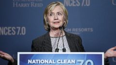 PHOTO: Former Secretary of State Hillary Rodham Clinton speaks at the National Clean Energy Summit Sept. 4, 2014, in Las Vegas.