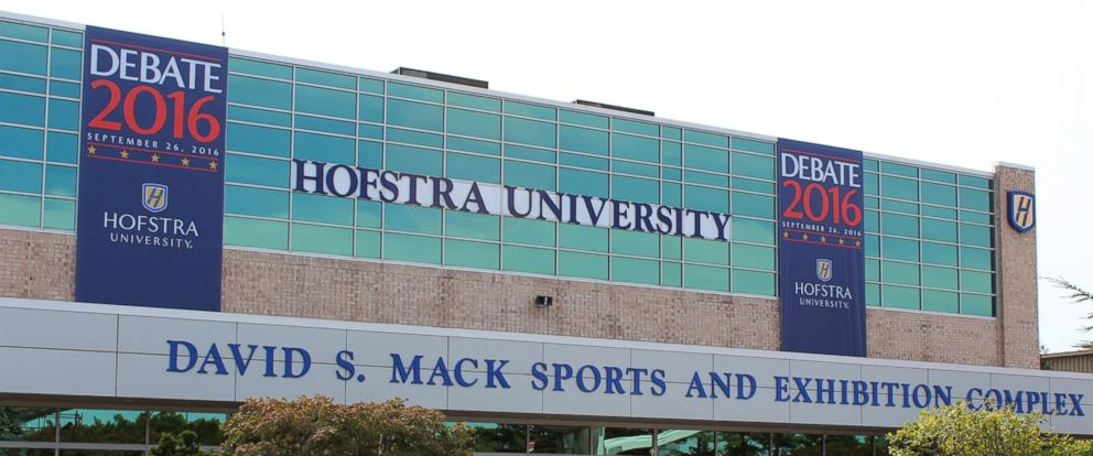 PHOTO: People stand outside the David S. Mack Sports and Exhibition Complex on the campus of Hofstra University, Sept. 21, 2016, in Hempstead, New York. Hofstra will be playing host to the first presidential debate on Sept. 26, 2016.