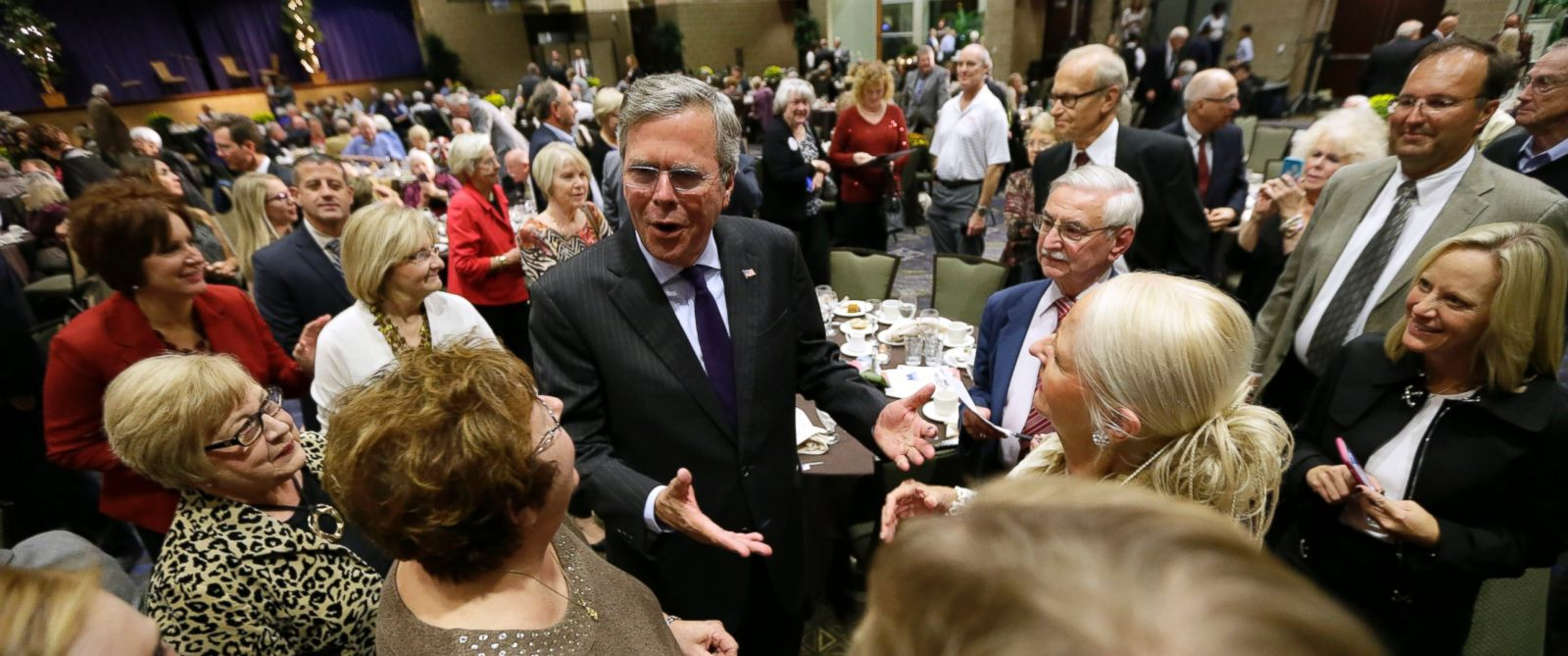 PHOTO: Republican presidential candidate former Florida Gov. Jeb Bush greets audience members after speaking at the Scott County Republican Partys Ronald Reagan Dinner, Oct. 6, 2015, in Davenport, Iowa.