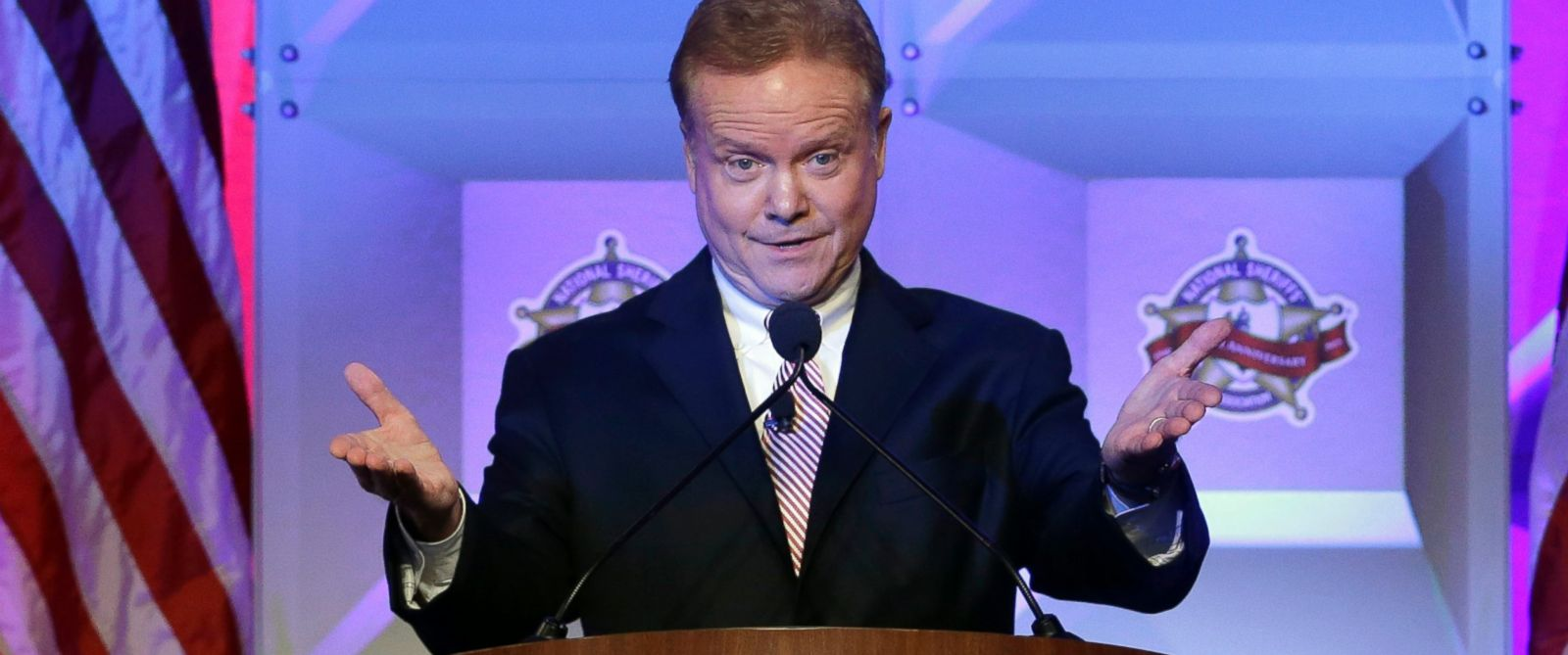 PHOTO: Former Virginia Sen. Jim Webb speaks at the National Sheriffs?? Association presidential forum, June 30, 2015, in Baltimore.