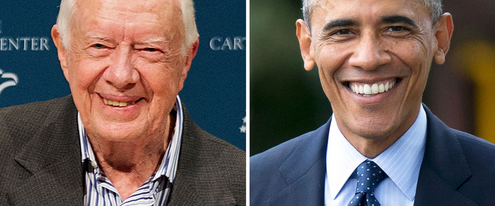 PHOTO:Left, former President Jimmy Carter after blowing out candles on a birthday cake as wife Rosalynn looks on during his 90th birthday celebration on Oct. 1, 2014, in Atlanta; right, President Barack Obama smiles as he walks from the Oval Office.