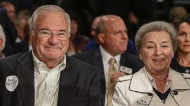 PHOTO: Joe and Marlene Ricketts, parents of Republican gubernatorial candidate Pete Ricketts, are seen prior to a debate in Lincoln, Neb., Oct. 2, 2014.