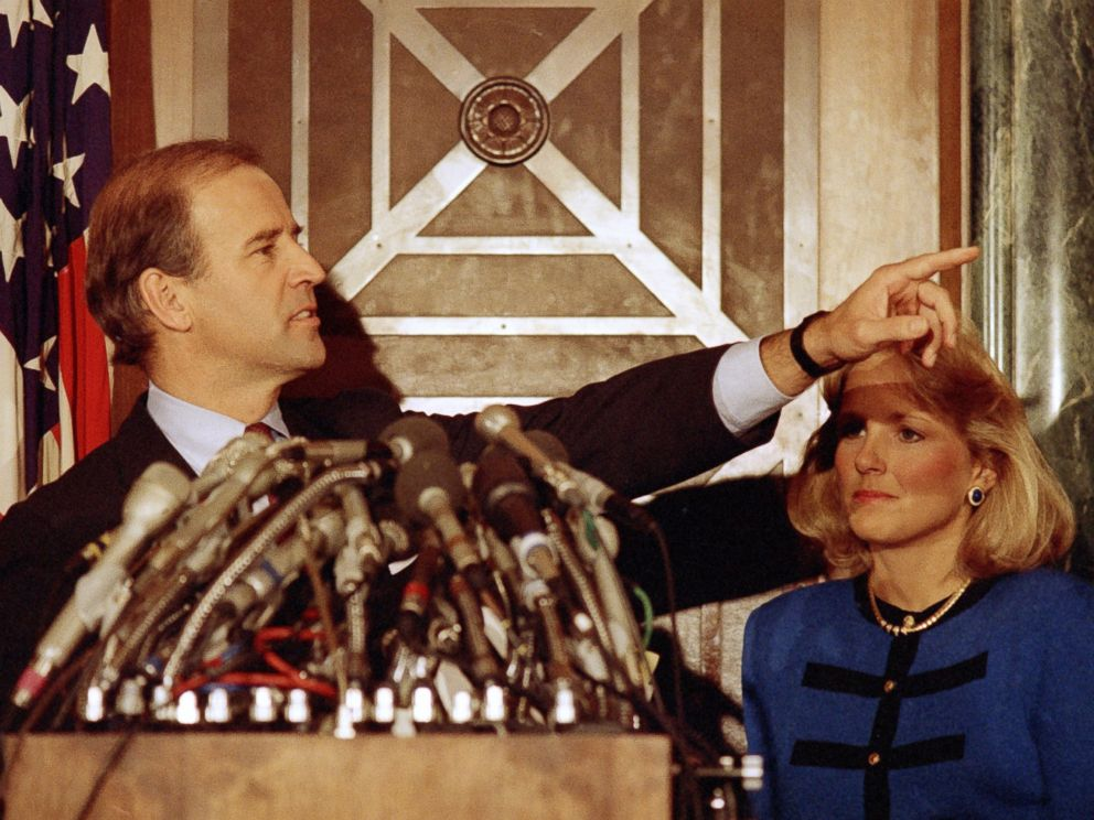 PHOTO: Sen. Joe Biden gestures during a news conference on Capitol Hill, Sept. 23, 1987.