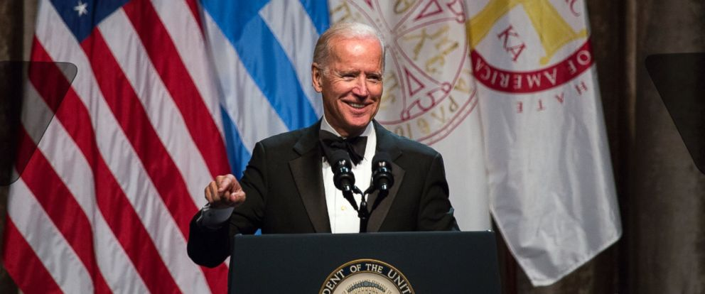 PHOTO: Vice President Joe Biden speaks at the annual dinner of The Order of St. Andrew the Apostle, Archons of the Ecumenical Patriarchate, after he was presented the Athenagoras Human Rights Award in New York, Oct. 17, 2015.