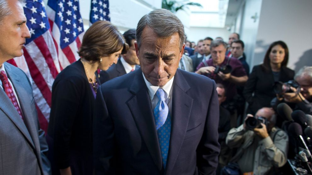 PHOTO: House Speaker John Boehner, R-Ohio, walks away from the microphone