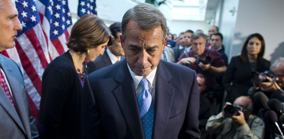 PHOTO: House Speaker John Boehner, R-Ohio, walks away from the microphone
