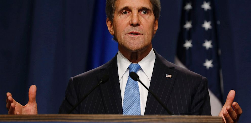 PHOTO: U.S. Secretary of State John Kerry speaks during a press conference before his meeting with Russian Foreign Minister Sergey Lavrov to discuss the ongoing crisis in Syria, in Geneva, Switzerland, Sept. 12, 2013.