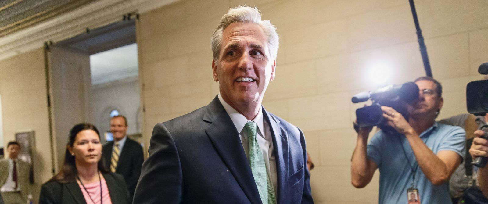 PHOTO: House Majority Whip Kevin McCarthy of Calif., arrives for GOP leadership elections, on Capitol Hill in Washington, June 19, 2014.