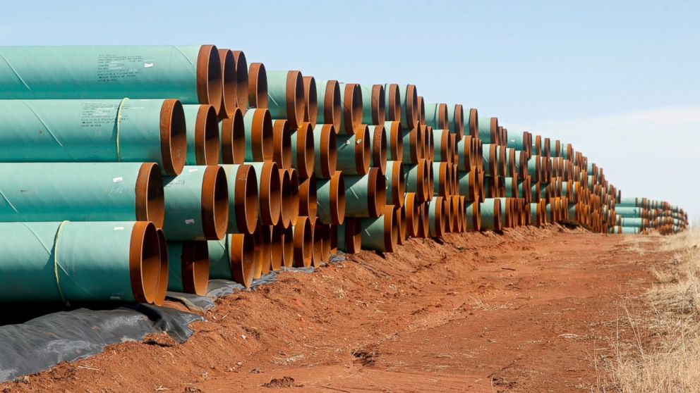 PHOTO: Miles of pipe ready to become part of the Keystone Pipeline are stacked in a field near Cushing, Okla.