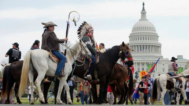 AP keystone pipeline protest mar 140422 16x9 608 Cowboys and Indians Ride Through DC to Protest Keystone XL Pipeline