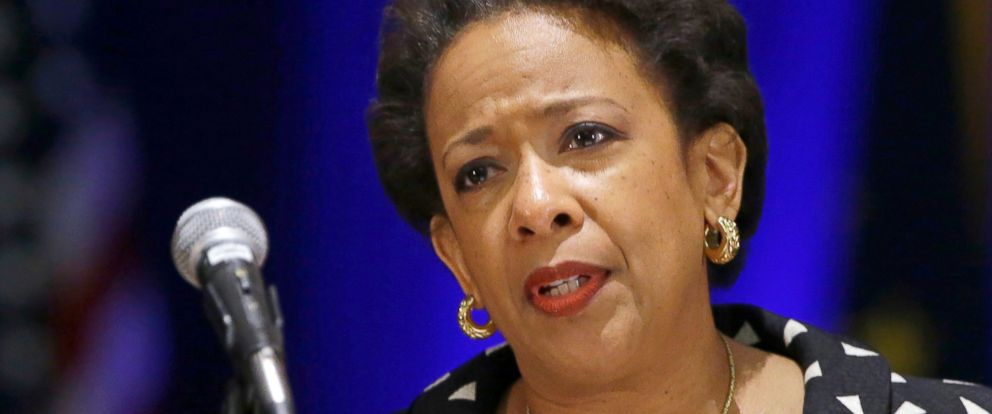 PHOTO: U.S. Attorney General Loretta E. Lynch delivers the keynote address at the National Organization of Black Law Enforcement Executives training conference in Indianapolis, July 13, 2015.