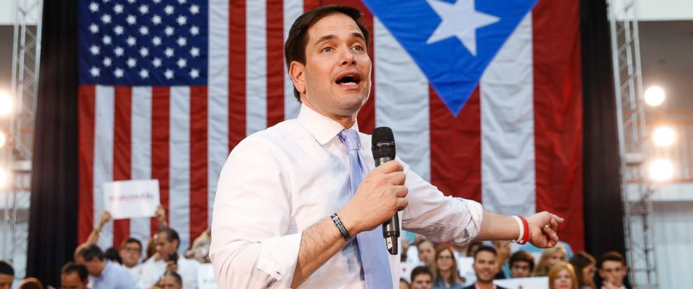 PHOTO: Republican presidential candidate, Sen. Marco Rubio, R-Fla., speaks in Toa Baja, Puerto Rico, March 5, 2016.