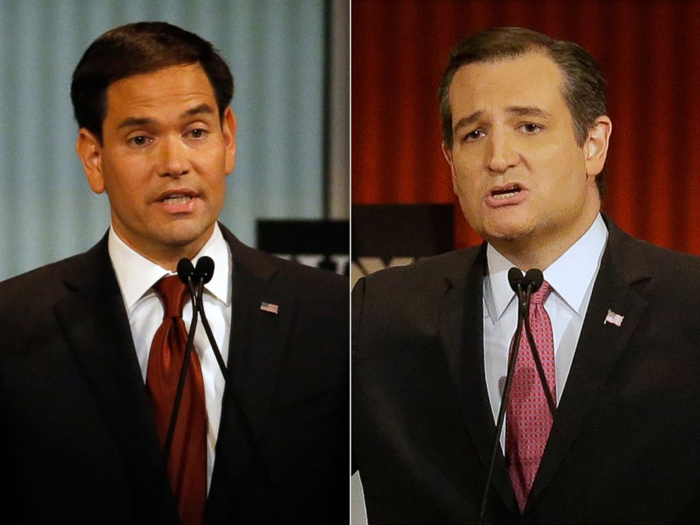 PHOTO: (L-R) Sen. Marco Rubio, R-Fla., and Ted Cruz speak during Republican presidential debate in Milwaukee, Nov. 10, 2015.