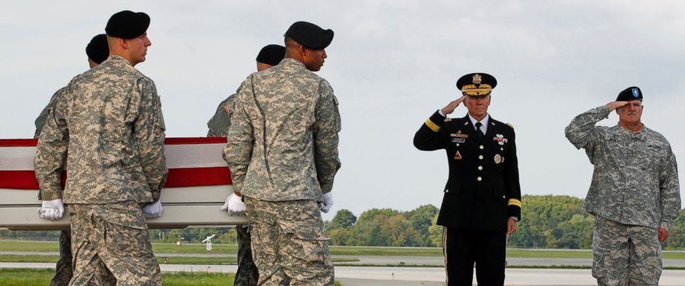 PHOTO: Chairman of the Joint Chiefs of Staff, General Martin E. Dempsey, left, and Army Brig. Gen. Frank D. Turner III salute at Dover Air Force Base, Del., Aug. 10, 2012.