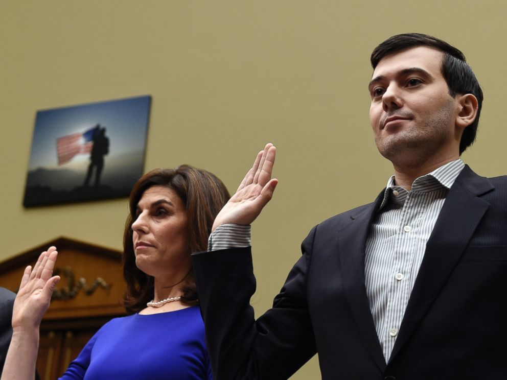 PHOTO: Pharmaceutical chief Martin Shkreli, right, and Nancy Retzlaff, Chief Commercial Officer of Turing Pharmaceuticals, are sworn in on Capitol Hill in Washington on Feb. 4, 2016.