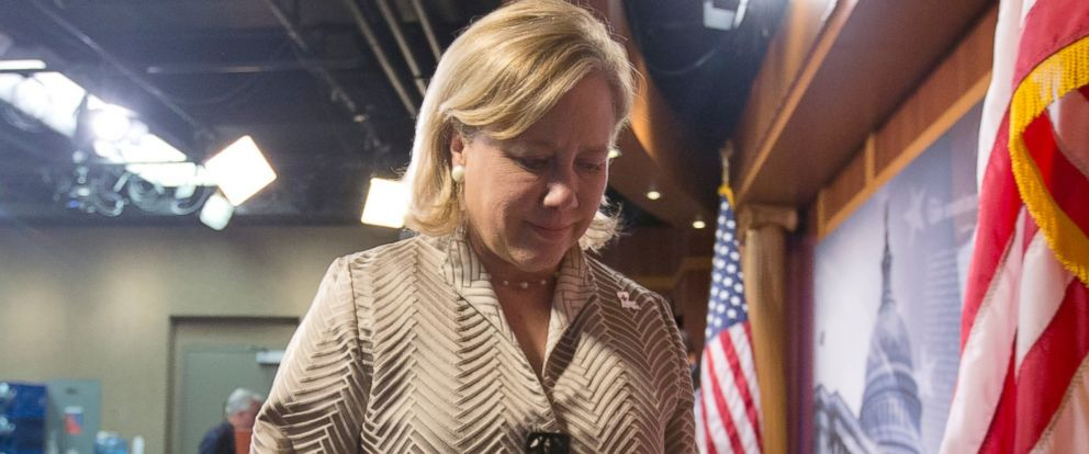 PHOTO: Sen. Mary Landrieu, the Keystone XL oil pipeline bill sponsor, turns from a news conference on Capitol Hill in Washington, Nov. 18, 2014.