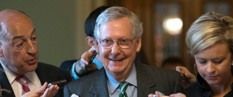 PHOTO: Senate Majority leader Mitch McConnell smiles as he leaves the chamber after announcing the release of the Republicans healthcare bill, June 22, 2017.
