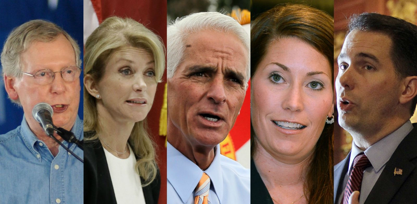 PHOTO: Kentucky Sen. Mitch McConnell, Texas State Sen. Wendy Davis, former Florida Gov. Charlie Crist, Kentucky U.S. Senate candidate Alison Lundergan Grimes, Wisconsin Gov. Scott Walker.