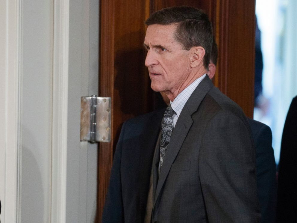 PHOTO: Mike Flynn arrives for a news conference in the East Room of the White House in Washington, Feb. 13, 2017.