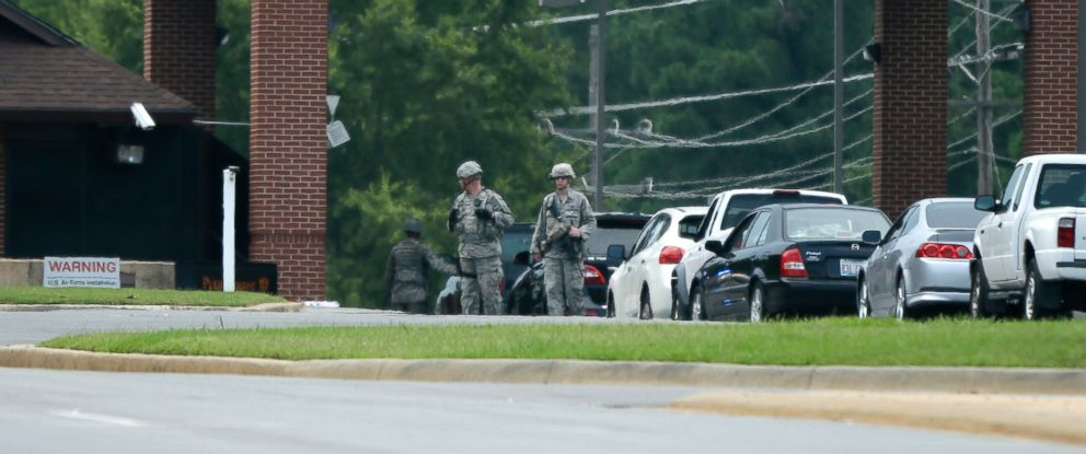 PHOTO: U.S. air Force security patrol near stopped traffic entering the front gate at Little Rock Air Force Base in Jacksonville, Ark., in this July 23, 2014 file photo.