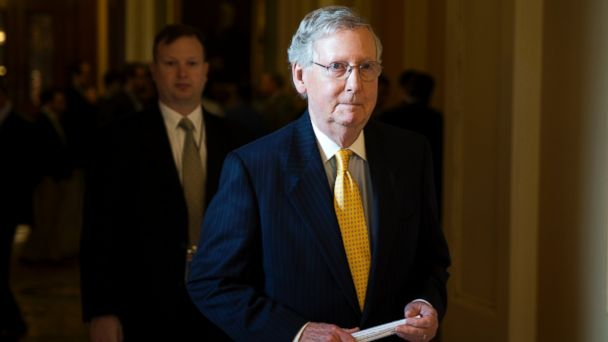 PHOTO: Senate Majority Leader Sen. Mitch McConnell of Ky. walks to his office on Capitol Hill in Washington, May 5, 2015.
