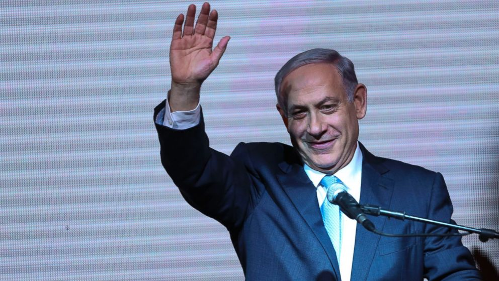 PHOTO: Israeli Prime Minister Benjamin Netanyahu greets supporters