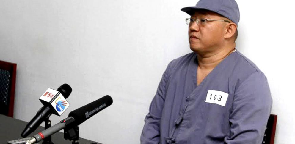 PHOTO: American missionary Kenneth Bae speaks to reporters at Pyongyang Friendship Hospital in Pyongyang, Jan. 20, 2014. Bae, 45, who has been jailed in North Korea for more than a year, appealed for the U.S. to do its best to secure his release.
