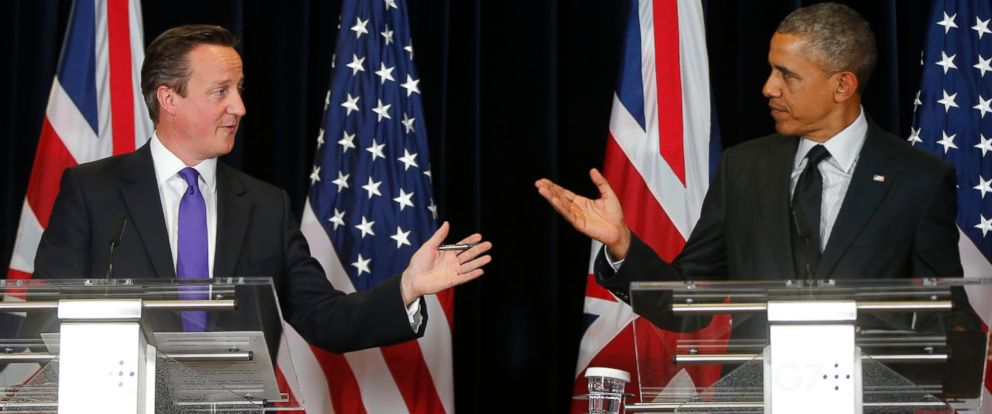 PHOTO: President Barack Obama and British Prime Minister David Cameron speak during a news conference at the G7 summit in Brussels, June 5, 2014.