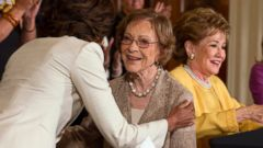 PHOTO: First lady Michelle Obama, left, hugs former first lady Rosalynn Carter during an event for caregivers of veterans,, April 11, 2014, in Washington. From left are, Mrs. Obama, Carter, former North Carolina Sen. Elizabeth Dole, and Jill Biden.
