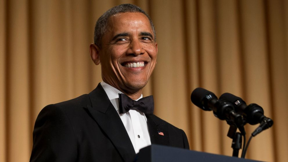 PHOTO: President Barack Obama smiles while making a joke during his speech at the White House Correspondents Association (WHCA) Dinner at the Washington Hilton Hotel, Saturday, May 3, 2014, in Washingto