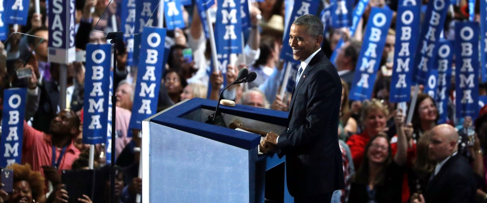 PHOTO: President Barack Obama speaks during the third day of the Democratic National Convention, July 27, 2016, in Philadelphia.